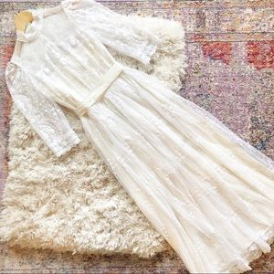 Vintage   High Neck Edwardian Lace Wedding Dress S